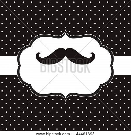 Vector mustache card with polka dot background