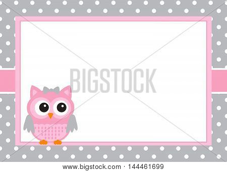 Vector baby girl owl invitation card template