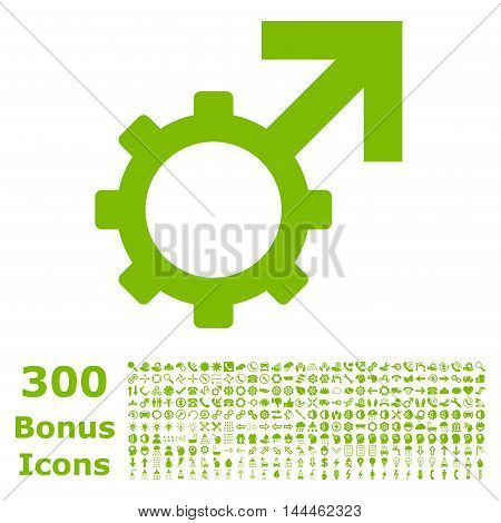 Technological Potence icon with 300 bonus icons. Vector illustration style is flat iconic symbols, eco green color, white background.