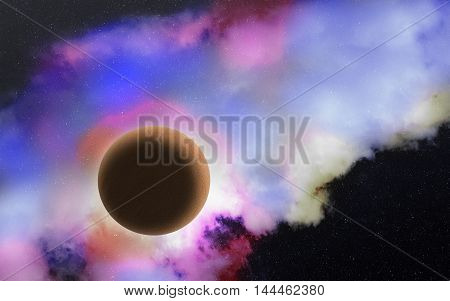 Scenic view of deep outer space with planet stars nebula. Cosmic background. Space exploration scenery. Beautiful universe scene. Galaxy landscape. Colorful nebula. Fantasy alien planet illustration