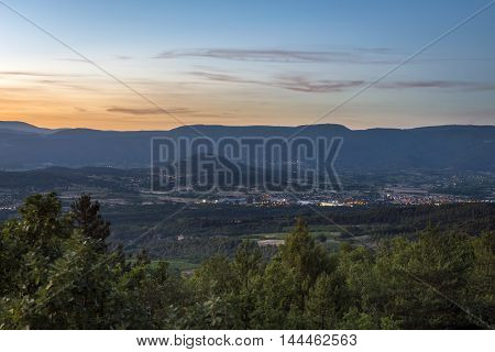 Provence landscape at sundown in South of France