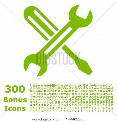 Tuning icon with 300 bonus icons. Vector illustration style is flat iconic symbols, eco green color, white background.