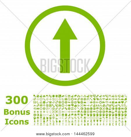 Up Rounded Arrow icon with 300 bonus icons. Vector illustration style is flat iconic symbols, eco green color, white background.