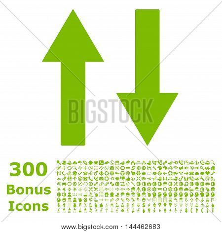 Vertical Flip Arrows icon with 300 bonus icons. Vector illustration style is flat iconic symbols, eco green color, white background.