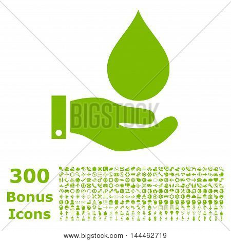 Water Service icon with 300 bonus icons. Vector illustration style is flat iconic symbols, eco green color, white background.