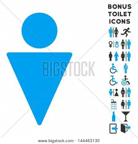 Man icon and bonus gentleman and woman WC symbols. Vector illustration style is flat iconic bicolor symbols, blue and gray colors, white background.