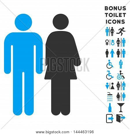 Married Couple icon and bonus gentleman and female lavatory symbols. Vector illustration style is flat iconic bicolor symbols, blue and gray colors, white background.
