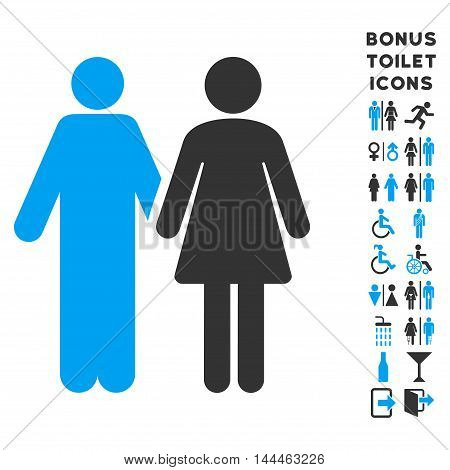 Married Couple icon and bonus male and female restroom symbols. Vector illustration style is flat iconic bicolor symbols, blue and gray colors, white background.