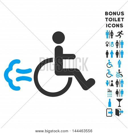 Patient Movement icon and bonus male and woman lavatory symbols. Vector illustration style is flat iconic bicolor symbols, blue and gray colors, white background.
