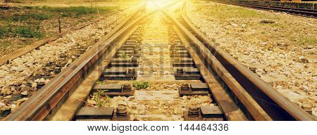 abstract of railway on sun light for background