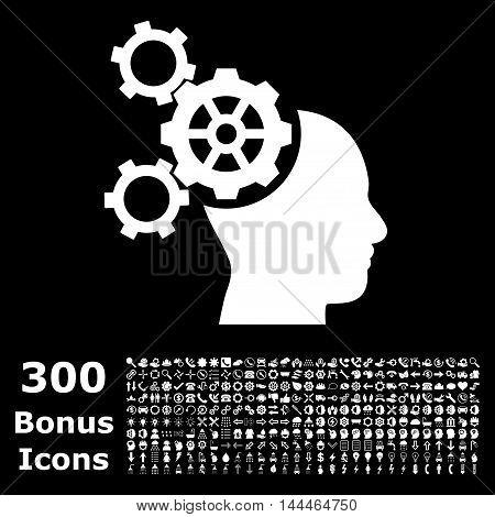 Brain Mechanics icon with 300 bonus icons. Vector illustration style is flat iconic symbols, white color, black background.