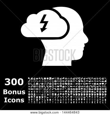 Brainstorming icon with 300 bonus icons. Vector illustration style is flat iconic symbols, white color, black background.
