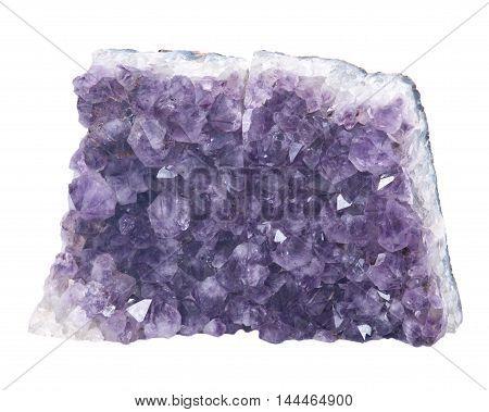 Quartz purple gemstone amethyst separated on white background