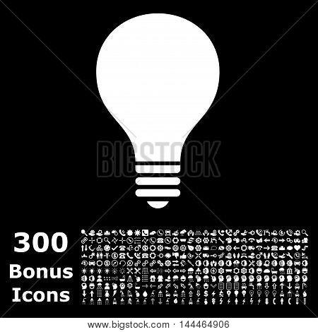 Bulb icon with 300 bonus icons. Vector illustration style is flat iconic symbols, white color, black background.