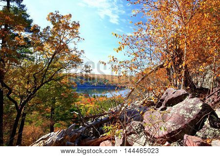 Autumn hiking trail at Devil's Lake State Park, Wisconsin