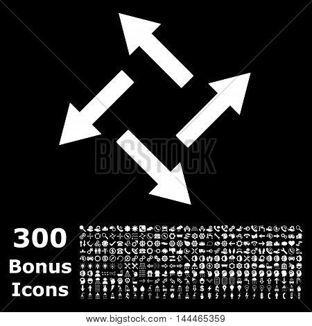 Centrifugal Arrows icon with 300 bonus icons. Vector illustration style is flat iconic symbols, white color, black background.