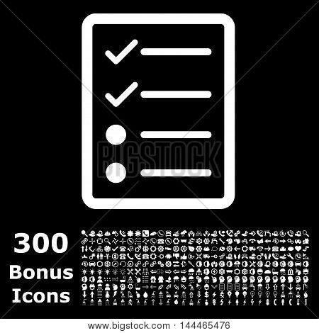 Checklist Page icon with 300 bonus icons. Vector illustration style is flat iconic symbols, white color, black background.