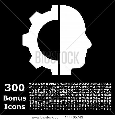 Cyborg Gear icon with 300 bonus icons. Vector illustration style is flat iconic symbols, white color, black background.