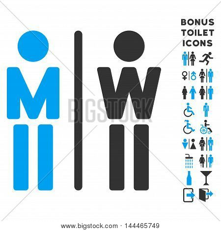 WC Persons icon and bonus gentleman and female lavatory symbols. Vector illustration style is flat iconic bicolor symbols, blue and gray colors, white background.