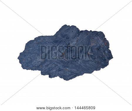 Raw black kyanite separated on white background