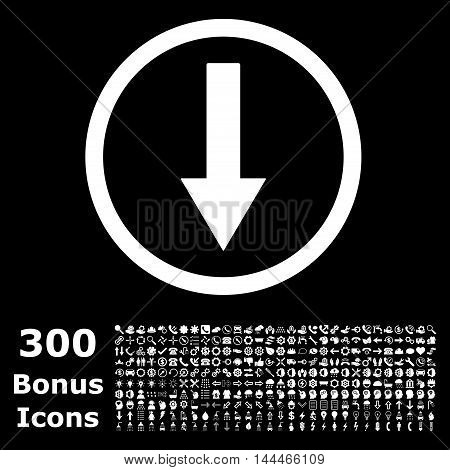 Down Rounded Arrow icon with 300 bonus icons. Vector illustration style is flat iconic symbols, white color, black background.