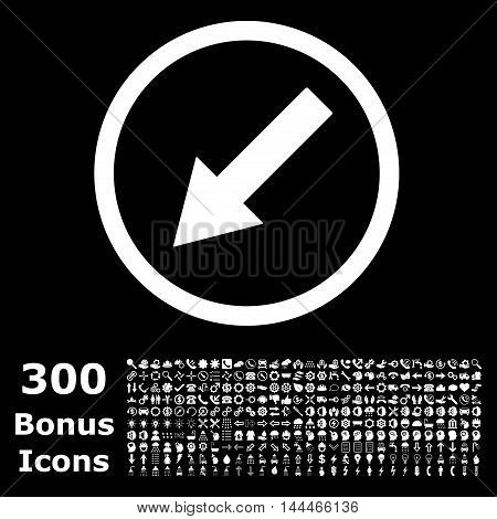 Down-Left Rounded Arrow icon with 300 bonus icons. Vector illustration style is flat iconic symbols, white color, black background.