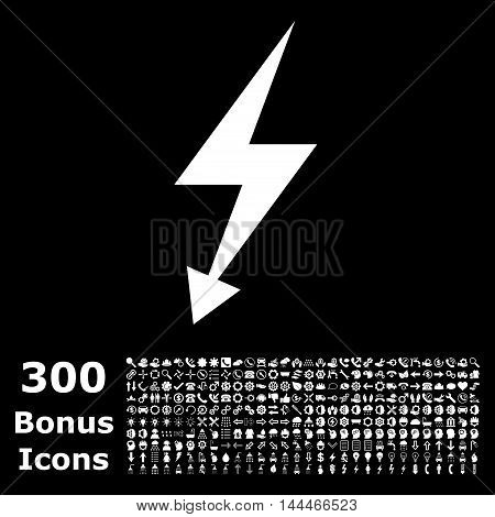 Electric Strike icon with 300 bonus icons. Vector illustration style is flat iconic symbols, white color, black background.