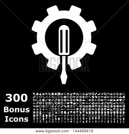 Engineering icon with 300 bonus icons. Vector illustration style is flat iconic symbols, white color, black background.