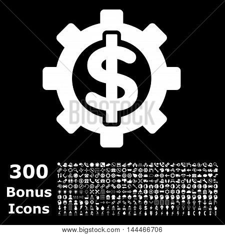 Financial Options icon with 300 bonus icons. Vector illustration style is flat iconic symbols, white color, black background.