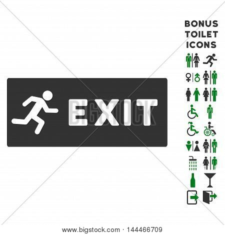 Emergency Exit icon and bonus gentleman and woman restroom symbols. Vector illustration style is flat iconic bicolor symbols, green and gray colors, white background.
