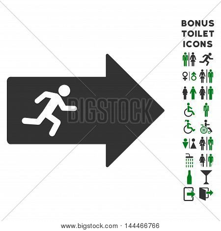 Exit Arrow icon and bonus man and lady restroom symbols. Vector illustration style is flat iconic bicolor symbols, green and gray colors, white background.