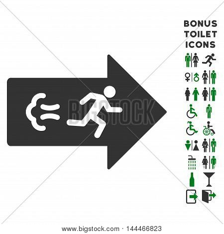 Exit Direction icon and bonus male and female lavatory symbols. Vector illustration style is flat iconic bicolor symbols, green and gray colors, white background.