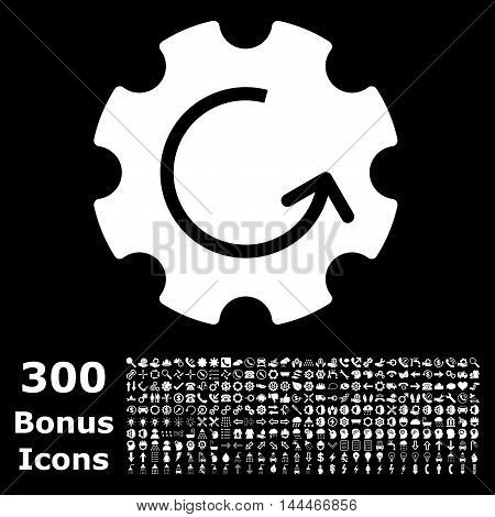 Gear Rotation icon with 300 bonus icons. Vector illustration style is flat iconic symbols, white color, black background.