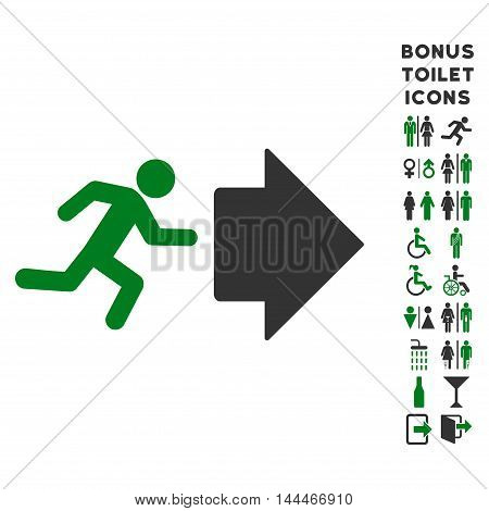 Exit Direction icon and bonus gentleman and female toilet symbols. Vector illustration style is flat iconic bicolor symbols, green and gray colors, white background.