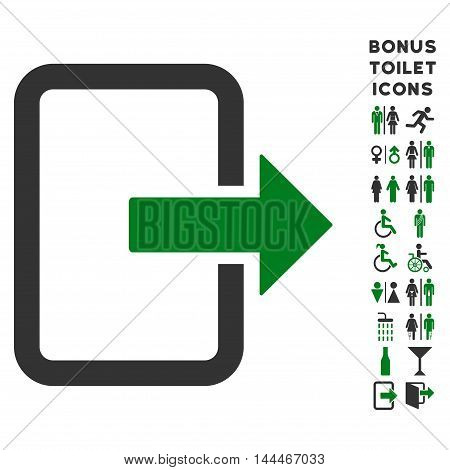 Exit Door icon and bonus man and woman WC symbols. Vector illustration style is flat iconic bicolor symbols, green and gray colors, white background.