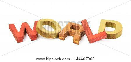 Word World made of colored with paint wooden letters, composition isolated over the white background