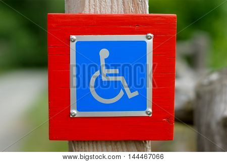 wheelchair handicap sign disabled blue symbol pictogram