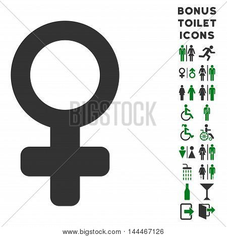 Female Symbol icon and bonus gentleman and female lavatory symbols. Vector illustration style is flat iconic bicolor symbols, green and gray colors, white background.