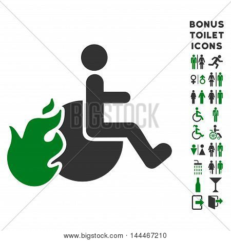 Fired Patient icon and bonus man and lady WC symbols. Vector illustration style is flat iconic bicolor symbols, green and gray colors, white background.