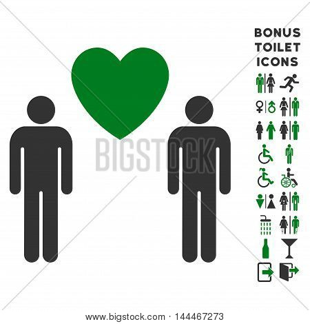 Gay Lovers icon and bonus male and female restroom symbols. Vector illustration style is flat iconic bicolor symbols, green and gray colors, white background.