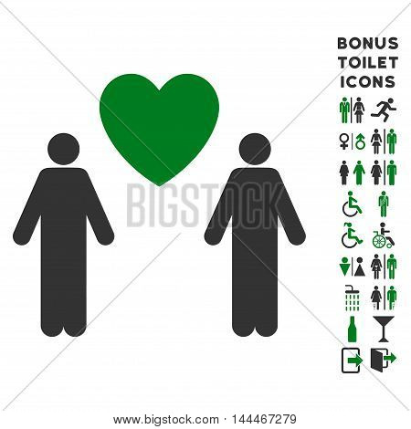 Gay Lovers icon and bonus male and lady restroom symbols. Vector illustration style is flat iconic bicolor symbols, green and gray colors, white background.