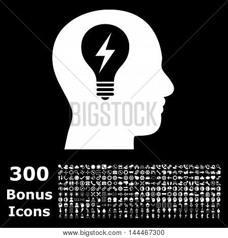 Head Bulb icon with 300 bonus icons. Vector illustration style is flat iconic symbols, white color, black background.