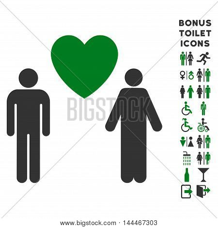 Gay Lovers icon and bonus gentleman and woman restroom symbols. Vector illustration style is flat iconic bicolor symbols, green and gray colors, white background.