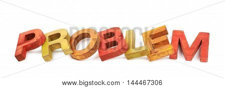 Word problem made of colored with paint wooden letters, composition isolated over the white background