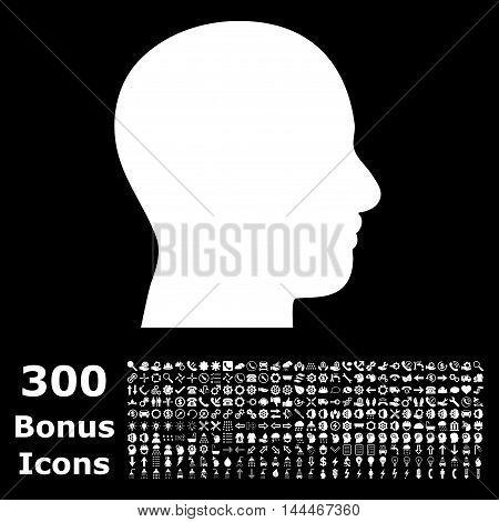 Head Profile icon with 300 bonus icons. Vector illustration style is flat iconic symbols, white color, black background.