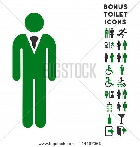 Gentleman icon and bonus gentleman and female toilet symbols. Vector illustration style is flat iconic bicolor symbols, green and gray colors, white background.