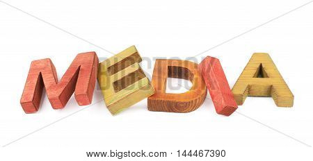 Word Media made of colored with paint wooden letters, composition isolated over the white background