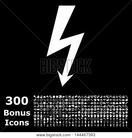 High Voltage icon with 300 bonus icons. Vector illustration style is flat iconic symbols, white color, black background.