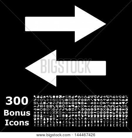 Horizontal Flip Arrows icon with 300 bonus icons. Vector illustration style is flat iconic symbols, white color, black background.