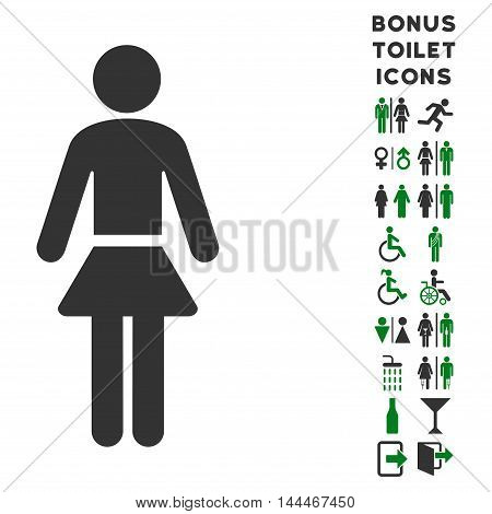 Lady icon and bonus male and lady restroom symbols. Vector illustration style is flat iconic bicolor symbols, green and gray colors, white background.